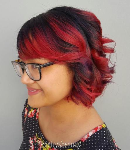 7 Black Bob With Cherry Red Balayage